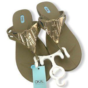 Oka-B Thong Sandals Gold Metallic Size 9-10 NEW